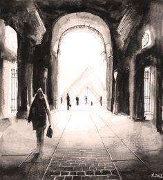Le passage du Louvre. Paris. Watercolor painting / Aquarelle. By Nicolas Jolly.