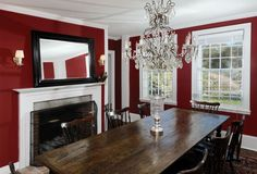 Renee Zellweger puts Rural Connecticut Proptery up for Sale Renee Zellweger, Farmhouse Style, Farmhouse Decor, Colonial, Traditional Dining Rooms, Earth Homes, Celebrity Houses, Celebrity Style, Dining Room Walls