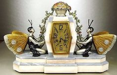 1920/1930 P. SEGA RARE STATUE PENDULE ART DECO FEMMES DANSEUSES PAPILLONS ELFES