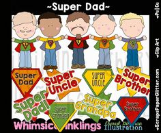 Super Dad Clip Art - Commercial Use, Digital Image, Png, Clipart - Instant Download - Superhero, Fathers Day, Daddy, Papa, Father by ResellerClipArt on Etsy