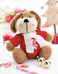 Rhubarb The Huggable Pup - Free Knitting Patterns - Animals Animal Knitting Patterns, Stuffed Animal Patterns, Amigurumi Patterns, Crochet Patterns, Knitted Dolls, Crochet Toys, Kwanzaa, Free Knitting, Baby Knitting