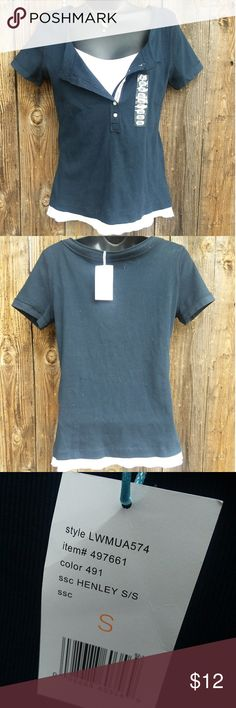 Nwt Liz wear by Liz Claiborne short sleeve Henley Nwt liz wear by liz Claiborne short sleeve Henley navy blue and white has a layered look size small. Liz Claiborne Tops Tees - Short Sleeve