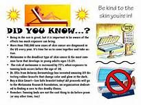 """This poster has information about skin cancers how to prevent them from forming. It has a catchy motto """"Be kind to the skin you're in"""" which teenagers will remember."""