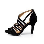 Women's Dance Shoes Flocking Flocking Latin / Dance Sneakers / Salsa Sandals Stiletto HeelPractice Customizable – USD $ 60.00