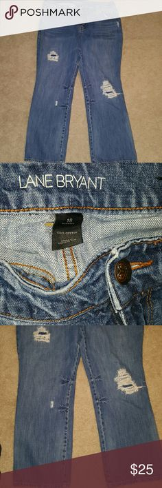 """Ripped relaxed style blue jeans sz 18 by Lane Bryant. in great condition, been in storage. Inseam is 30"""" and waist lying flat is 19"""".  1 belt loop in the back is loose but easily fixed.  Cuff is 10"""" flat.  No spots or stains. Comes from a smoke free home. Lane Bryant Jeans Flare & Wide Leg"""