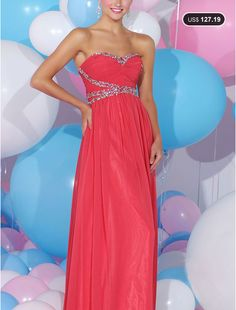 Brilliant Chiffon A-line Sweetheart Floor-length Zipper Prom Dress, see more at:  Loveseason.com