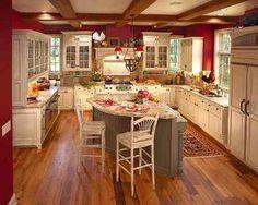 red kitchen.