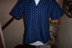 Navy Blue Patterned Workwear Blouse Top Shirt by Alexandra UK 12