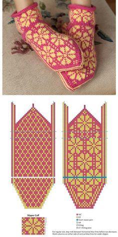 free patterns in Kufer Knitted Slippers, Knit Mittens, Crochet Slippers, Knitting Socks, Hand Knitting, Knit Crochet, Knitted Bags, Knitting Charts, Knitting Patterns