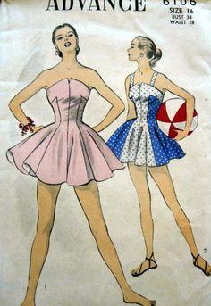 Vintage Advance Sewing Pattern 6106 1950s Fashion Bathing Suit / Swimsuit