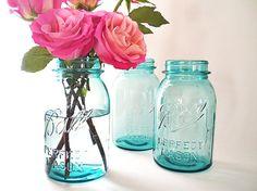 Blue Mason Jars, Antique Ball Jar Collection, Vintage Chic Wedding Vases Turquoise Blue Kitchen Storage Zinc Lids
