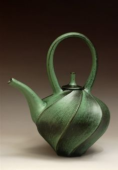 Jim Connell, Green Carved Teapot by lilian22