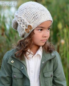 CROCHET PATTERN - Buttons & Braids Slouchy - a crochet slouchy hat pattern in 3 sizes (Toddler, Child, Adult) - Instant PDF Download