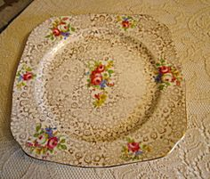 Old English Sampler Plate Square Plate Set, Vintage Dishware, Kitchenware, Tableware, Cutlery, Dinnerware, Porcelain, English, Plates