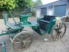 Alter Jagdwagen Kutsche 2 Spännig Pferde