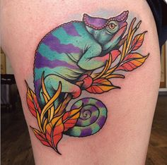 Always making her tattoos beautifully bright, Rizza Boo created this gorgeous chameleon.