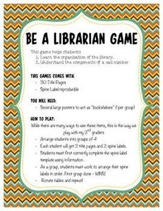 """Be a Librarian Game.    """"Be a Librarian"""" game requires students to make a spine label using the information provided on a title page. Working as a group, students must take their spine labels and correctly organize the books on the shelf in correct ABC order. This activity comes with 30 title pages and a spine label"""