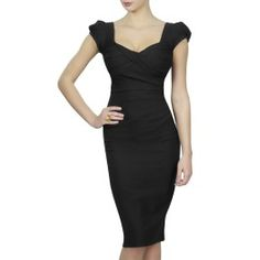 Black Nigella Dress - as worn by Nigella Lawson. The perfect 'nip & tuck effect' cocktail dress for busty women from DD-H Cup sizes. www.saintbustier.com