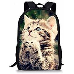 ab8947a5ff3 Cat Backpack Cute Kids School Bag Shoulder Bookbag Cat Printing Backpack  for Teen Boys Girls Backpacks