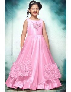 Baby Pink Net And Thai Silk Hand Work And Ribbon Embroidered Gown For Kids Product Details : Try out the whole new look for your little cute angel with this high fashioned baby pink color party wear gown. Crafted of net and thai silk fabric this bea Party Gowns For Kids, Girls Party Wear, Kids Gown, Gowns For Girls, Frocks For Girls, Kids Wear, Children Wear, Princess Frocks, Pink Princess