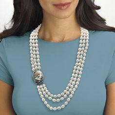 Purchase Genuine Cultured Freshwater Pearl and Black Mother-Of-Pearl Cameo Triple-Strand Necklace from PalmBeach Jewelry on OpenSky. Share and compare all Jewelry. Freshwater Pearl Necklaces, Pearl Jewelry, Bridal Jewelry, Beaded Jewelry, Jewelry Necklaces, Beaded Necklace, Fabric Jewelry, Gems Jewelry, Gemstone Necklace