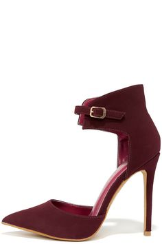 Oohs and Ahhs Burgundy Nubuck Ankle Strap Pumps at Lulus.com!