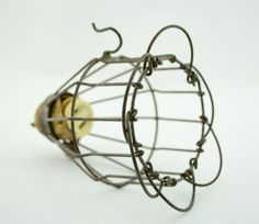 Vintage Industrial Wire Light Cage with Hook - Safety Wire Cage Light Fixture for Parts - Steampunk - Untested
