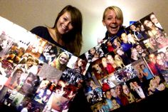 Dorm room crafts with the roommate! Now I have a little piece of home with me in my college dorm! DIY picture board: foam core and mod podge. Printed over 70 pictures for under $10 at Walgreens!!