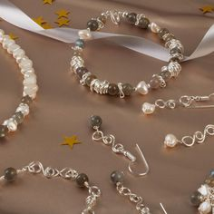 Winter Frost Jewellery Kit Inc; Freshwater Cultured Pearls, Grade A Labradorite, Silver Plated Wire, Jump Rings, Findings and Threading Essentials | JewelleryMaker.com