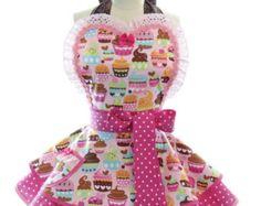 Retro Apron Cherry Cupcake Sexy Womans Aprons by bambinoamore