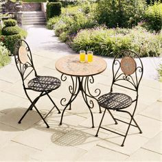Sun Round 2 Seater Bistro Set Outdoor Patio Furniture Decor Conservatory Summer Make the Best this Wonderful Opportunity. Take a look LUXURY HOME BRANDS and buy this bargain Now! Cast Iron Garden Furniture, Garden Furniture Sets, Outdoor Furniture Sets, Outdoor Decor, Furniture Decor, Furniture Design, Outdoor Mosaic Tiles, Iron Table Legs, Round Dining Set