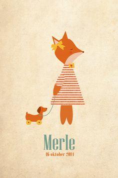 Geboortekaartje meisje - Merle - Lief vosje met speelgoedhondje - Pimpelpluis  https://www.facebook.com/pages/Pimpelpluis/188675421305550?ref=hl (# vos - vosje - dieren - strik - lief - hond - vintage - schattig - speelgoed - origineel)