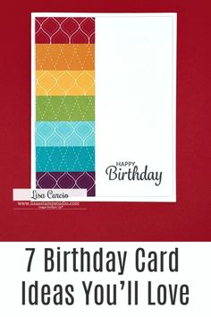 I've got some Birthday card ideas you'll love. Bonus that they are quick to make and only use a few paper craft supplies. Watch the tutorial at www.lisasstampstudio.com #birthdaycardideas #handmadebirthdaycards #diybirthdaycards #cardmakingtutorials #cardvideos #birthdaywishes #lisacurcio #lisasstampstudio #stampinup #stampinupcards #stampinupbirthdaycards Birthday Cards Images, Birthday Cards For Friends, Handmade Birthday Cards, Happy Birthday Cards, Greeting Cards Handmade, Card Making Tutorials, Card Making Techniques, Quick Cards, Cards Diy