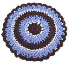 "Click the banners below for more popular patterns, available via mail or download! Modern Hot Pad FP130 Beginner Skill Size: 9"" diameter. Materials:Worsted Weig"
