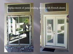 removing patio sliding door and installing french doors with mini blinds the mini blinds are