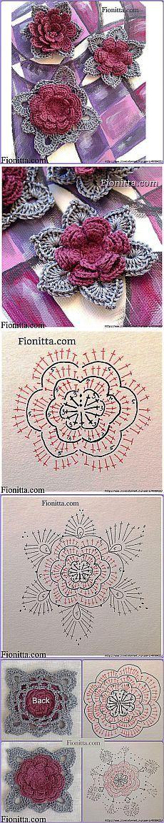 Λουλούδια από Fionity γάντζο.  Τέσσερις παραλλαγές του πλεξίματος.