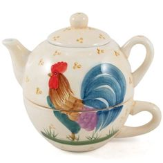 Rooster Tea Glazed Ceramic For One Pot Cup - http://teacoffeestore.com/rooster-tea-glazed-ceramic-for-one-pot-cup/
