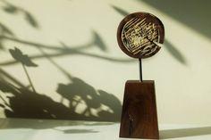 "ORIGINAL Mixed Media Sculpture ""Pacman (Come Eat Me)"" // Modern Metal Wood & Concrete Figurine, Abstract Dada Home Decor, Surprise Gift Idea Mixed Media Sculpture, Large Canvas Prints, Concrete Wood, Small Sculptures, Surprise Gifts, Walnut Wood, Contemporary, Modern, Metal Art"