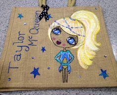 Large personalised jute bag, contemporary dancer , £28 #dancing #pageant #cute #bling