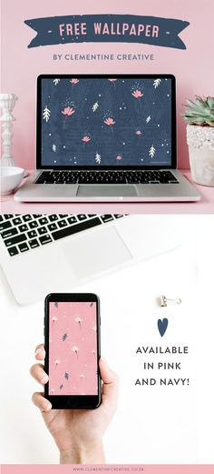 Celebrate autumn with this dainty falling flowers wallpaper for your computer, tablet or phone. Click here to download a pink or navy version.