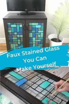 After finding the perfectly sized cabinet for my space, I knew I had to personalize it. The cabinet doors were glass and I wanted to give it a fake stained glass feel so I fond a fun way to create stained glass without the pricetag.
