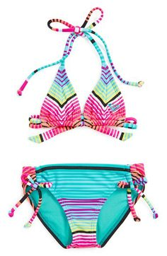 Roxy 'Tiki Tri' Stripe Two-Piece Swimsuit (Toddler Girls) available at #Nordstrom