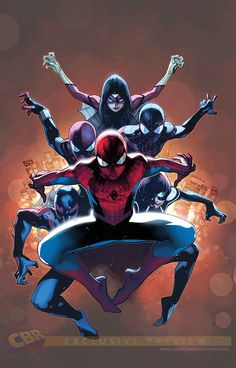 """Marvel's """"Spider-Verse"""" - Spider-Man (Peter Parker), Spider-Man 2099, Spider-Girl, Spider-Ben, Ultimate Spider-Man (Miles Morales) and Spider-Woman"""