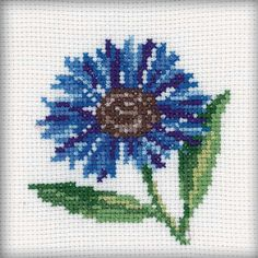 "Cornflower Counted Cross Stitch Kit-4""X4"" 14 Count Más"
