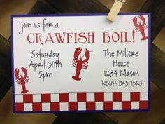 Crawfish Boil Invitations by Delighful Designs   http://www.etsy.com/listing/99054736/crawfish-boil-custom-invitation