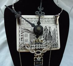 #Necklace #vintage #steampunk, #avant garde, #vintage rhinestone jewelry on #antique cigarette tin with #clock hands, #chains, tin opens, #OOAK,#funky fabulous