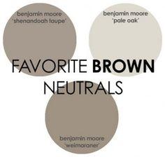 Brown Paint Color. Benjamin Moore Brown Paint Color. Shenandoah Taupe Benjamin Moore. Pale Oak Benjamin Moore. Weimaraner Benjamin Moore. Via Rhiannons Interiors.