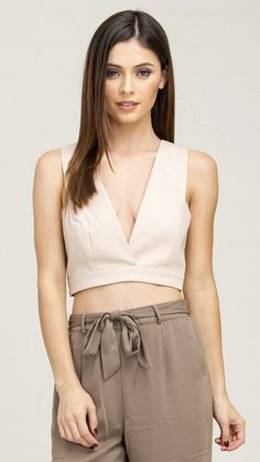 Deep V Front Cut Out Back Crop Top - Nude