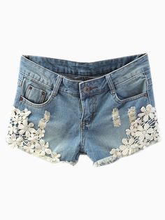 LOVE these Shorts! Super Cute Blue Denim Shorts With Floral White Lace Hem #Cute #Denim #Floral #White_Lace #Shorts #Fashion