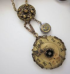 Steampunk Vintage Reclaimed Watch Necklace by jryendesigns